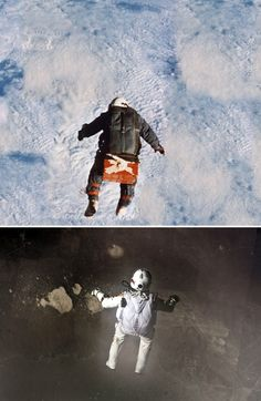 Leap into the void of history.  Joe Kittinger made his historic jump from a US Air Force high-altitude balloon in 1960, a camera attached to the capsule's platform photographed an iconic scene: Kittinger, inside a pressure suit, taking a leap into the void, Baumgartner's RedBull Stratos reminiscent image. #mammasoup #inspiration #history_vs_story