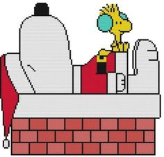 Cross-Stitch-PATTERN-Peanuts-Woodstock-Bird-Snoopy-Dog-Christmas-Chimney-Santa