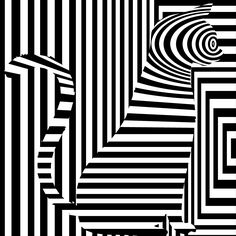 """Op Art of black and white curious cat"" - 'Casino Artist'"