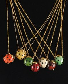 Ladybug Vintage Necklace 1960s Small GOOD by ErikasCollectibles, $35.00