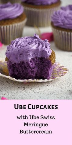 Ube Cupcakes with Ube Swiss Meringue Buttercream – Woman Scribbles These ube cupcakes have delicate, moist crumbs infused with ube flavor. The ube swiss meringue buttercream is a perfect icing to match the softness of the light ube cake. Ube Recipes, Cupcake Recipes, Sweet Recipes, Baking Recipes, Cupcake Cakes, Dessert Recipes, Best Ube Cupcake Recipe, Ube Chiffon Cake Recipe, Party