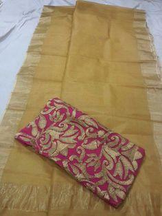 Kota saree with gota work blouse Simple Sarees, Trendy Sarees, Fancy Sarees, Kota Sarees, Indian Sarees, Saree Dress, Saree Blouse, Sari Blouse Designs, Blouse Patterns