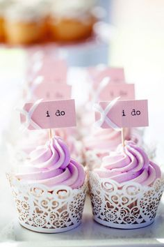 Cupcakes in Lace Effect Wrappers with Lavender Icing
