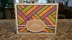 handmade quilt card using the Frantic Stamper Precision Die - Woven Ribbons Card Panel ...