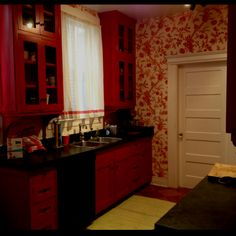 Red Toile kitchen