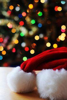 santa hat, xmas tree lights