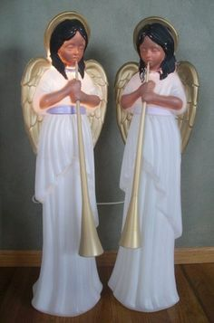 Christmas TPI Nativity Angel Lighted Blow Mold Outdoor Yard Decor Set 2 PC | eBay