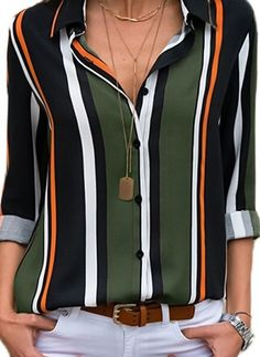 Green Monday Stripe Casual Collar Long Sleeve Blouses - Fashion blouses Fashion Trends of Winter 2020 - blouses for women, blouses for women elegant, blouses for women long sleeve, blouses for women long sleeve work, blouses for women short sleeve Black Work Dresses, Top Mode, Short Sleeve Blouse, Long Sleeve, Basic Tops, Blouse Styles, Look Fashion, Shirt Blouses, Chiffon Blouses