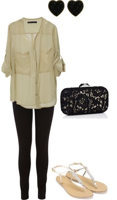 """Green and black casually dressed up"" by katie7427 on Polyvore"