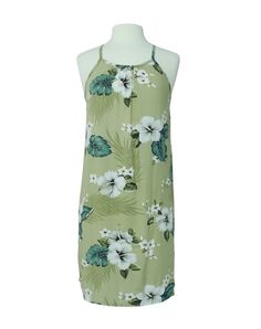 Hawaiian Hibiscus Ferns Summer Halter Dress