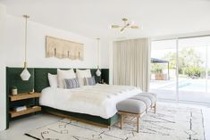 Samuel specified a custom velvet built-in headboard, then had it adorned with simple floating bedside shelves. Cedar & Moss lighting, the Safari Bench from Georgia-based Katy Skelton, and a custom weaving by Sally England finishes the cozy space. Bedroom Sets, Home Decor Bedroom, Bedroom Furniture, Bedding Sets, King Furniture, Furniture Dolly, Furniture Online, Furniture Stores, Cheap Furniture
