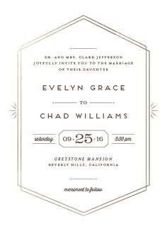 An art deco inspired wedding invitation that captures the glamour of the art deco period while still modern. This is perfect for a glamorous and luxe affair for the modern couple.