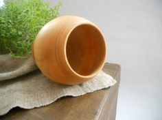 Swedish vintage wooden glass Round Smooth wood by TasteVintage