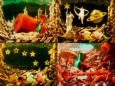 """Stills from Georges Melies' """"Le voyage dans la lune"""" (""""A Trip to the Moon""""), Moon Film, Starry Ceiling, Le Mirage, Circus Decorations, Movie Shots, Good Night Moon, Book Sculpture, To Infinity And Beyond, Silent Film"""