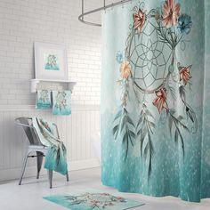 Items similar to Dream Catcher Shower Curtain Boho Chic Aqua Teal Mist Optional Bath Mat Set Bath Towels on Etsy Diy Bathroom Decor, Bathroom Shower Curtains, Bathroom Ideas, Bath Mat Sets, Glass Table, Tile Design, Washing Clothes, Dream Catcher, Boho Chic