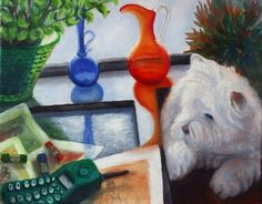 Minaz Jantz - 'Creative Inspirations with Miss Kitty', oil painting Westland Terrier, Miss Kitty, Dog Paintings, Westies, Dog Friends, Pet Portraits, Creative Inspiration, Reflection, Art Gallery