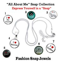 All About Me Snap. 18mm  Fashion Snap Charm fits our 18mm Fashion Snap Jewelry, fits ginger snaps, chunk snaps, noosa snaps
