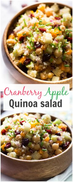 Cranberry Apple Quinoa Salad:  loaded with proteins from quinoa and chickpeas makes this salad a complete and delicious, healthy vegetarian meal!