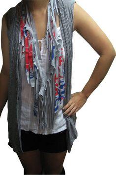 t-shirt scarves.  :)  brilliant idea!  especially since i have way too many t-shirts...