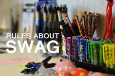 "Rules & Tips Regarding SWAG  There seems to be different suggestions as to what the term ""swag"" actually means, but a common version is ""Stuff We All Get"". There's no doubt what it refers to, though: the trading items found in geocaches."
