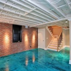 Stained Concrete Floor In Basement Design Ideas, Pictures, Remodel, and Decor - page 2