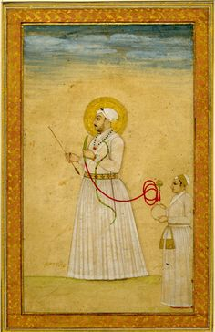 A standing portrait of Muhammad Shah holding a bow and arrow, as well as a huqqa pipe