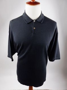 Tommy Bahama Beach Short Sleeve Polo Rugby Silk Blend Ribbed Black Shirt Men XL #TommyBahama #PoloRugby