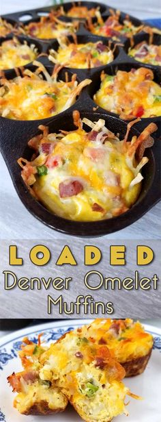 Loaded Denver Omelet Muffins Recipe - Sparkles of Yum Rise and shine with a plan. A cheesy, crispy Loaded Denver Omelet Muffin plan that is! I'm loving brunch at home, no waiting in line for a table, just takes a little planning ahead. Omelette Muffins, Omelette Recipe, Breakfast Dishes, Breakfast Casserole, Breakfast Recipes, Breakfast Muffins, Breakfast Ideas, Paleo Breakfast, Breakfast Omelette
