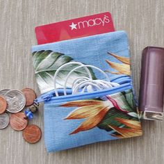 Coin Purse Zippered PurseBlue Barkcloth Tropical Fabric Ear