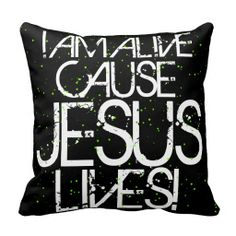 JESUS LIVES! and polka dots Throw Pillow