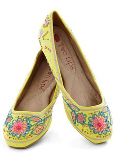 Sunny Salutation Flat - Yellow, Multi, Beads, Embroidery, Boho, Flat, Folk Art