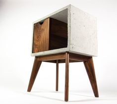 Concrete & Black Walnut Mid-Century Nightstand and Side Table Furniture Care, Wood Furniture, Decoration Piece, Concrete Wood, Bedside Tables, Handmade Home, Credenza, Storage Ideas, Cement