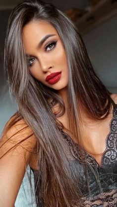 Brunette Beauty, Brunette Hair, Hair Beauty, Beauté Blonde, Corte Y Color, Gorgeous Hair, Beautiful, Dark Hair, Pretty Hairstyles