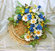"""Купить Полевой букет """"Небес синева"""" - синий, цветы ручной работы, цветы из ткани"""