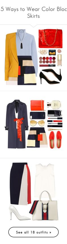 """""""15 Ways to Wear Color Block Skirts"""" by polyvore-editorial ❤ liked on Polyvore featuring waystowear, colorblockskirts, Agnona, MSGM, Hebe Studio, Chanel, Gianvito Rossi, Erica Lyons, Charlotte Tilbury and NARS Cosmetics"""