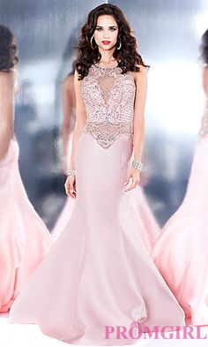Long Blush Pink Prom Dress with a Sheer Back at PromGirl.com