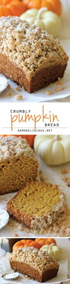 I have an AMAZING pumpkin bread recipe, courtesy of Robin'd G-ma, but I want the topping part of this recipe.Crumbly Pumpkin Bread - With lightened-up options, this can be eaten guilt-free! And the crumb topping is out of this world amazing! Fall Desserts, Just Desserts, Delicious Desserts, Dessert Recipes, Yummy Food, Thanksgiving Desserts, Cookie Recipes, Fondue Recipes, Kabob Recipes