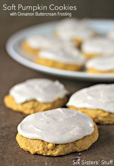 Soft Pumpkin Cookies with Cinnamon Buttercream Frosting SixSistersStuff | During pumpkin season, cream cheese and pumpkin are like peanut butter and jam- you usually don't get one without the other.