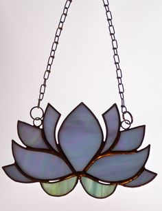 "Stained Glass Lotus Flower Sun Catcher Hanging Window Glass Art 7""x 4"" Lily…"