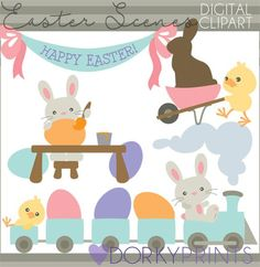 Easter Bunny Scenes Clipart - chocolate bunny, Easter train clipart