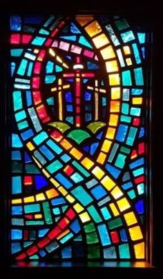 Faceted Glass Windows at Troutman Baptist Church in Troutman, NC
