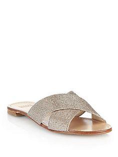 Stuart Weitzman Planoi Glitter Crisscross Sandals