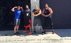 David Bakhtiari, Clay Matthews and Aaron Rodgers Flexing