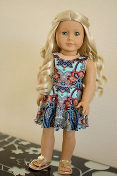 Doll Clothes: Paisley Love Skater Dress for an American Girl Doll or Other 18…