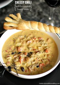 "Cheesy Chili Recipe With Bread ""Broomsticks"" - Celebrations at Home"