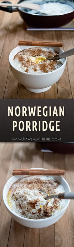 Norwegian Porridge Recipe - Risengrynsgrøt - One-Pot Rice Porridge [+Video] scandinavian christmas meal & healthier all year round breakfast dish made with rice and milk as main ingredients. www.MasalaHerb.com #porridge #rice #masalaherb #norwegian