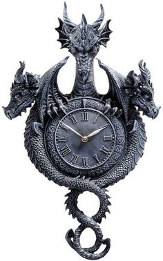 Three Headed Dragon Clock of Time Past . Gothic Medieval Home Wall Art Products.