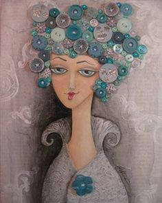 Gorgeous mixed media piece:  Reminds me of the big, old hair rollers women used in the 60s and 70s!
