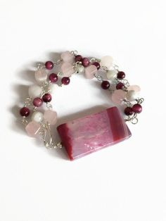 Pink Geode Slice Beaded Bracelet Chain and Link Bracelet by JulemiJewelry