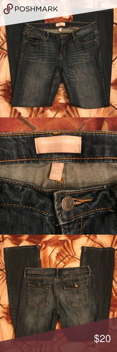 """Banana Republic Jeans-Make an Offer Size 8, Banana Republic Bootcut Jeans.  Inseam 31"""".  In good pre-owned condition.  There is some minor wear on back ends of jeans. Banana Republic Jeans Boot Cut"""